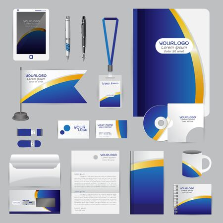 cds: White identity template with blue origami elements. company style for brandbook guideline and Pens mugs CDs books business cards letterhead flag Card Portfolio employees Tablet