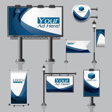 vector Outdoor reclame ontwerp voor bedrijf met kleur cirkels Elementen van briefpapier afdrukmedia Light box banner Oprollen vlag Witte identiteit sjabloon achtergrond