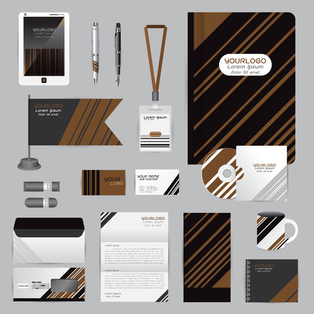 White identity template with origami elements. Vector company style for brandbook guideline and Pens mugs CDs books business cards letterhead flag Card Portfolio employees Tablet