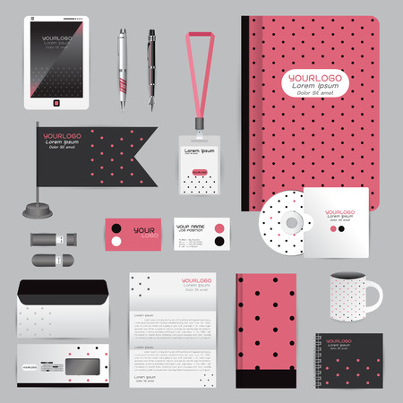 cds: White identity template with origami elements. Vector company style for brandbook guideline and Pens mugs CDs books business cards letterhead flag Card Portfolio employees Tablet