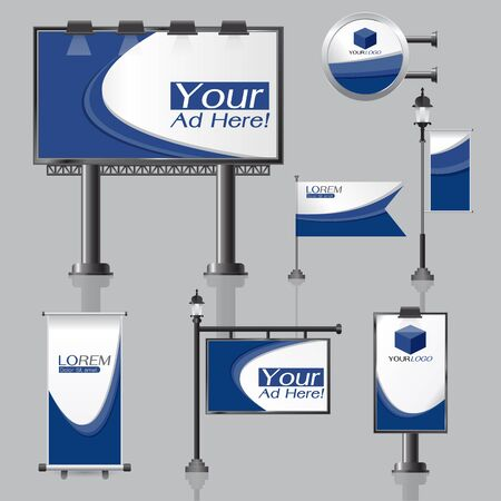 light box: vector Outdoor advertising design for company with color circles Elements of stationery printing media Light box banner Roll Up flag White identity template background