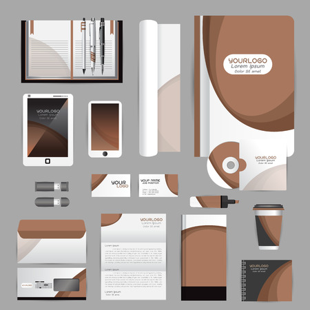 letterhead: White identity template with origami elements. Vector company style for brandbook guideline and Pens mugs CDs books business cards letterhead flag Card Portfolio employees Tablet