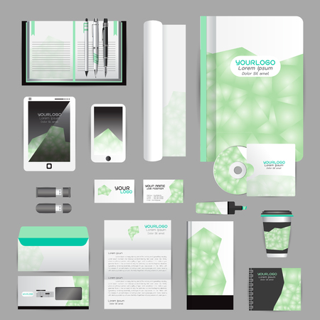 guideline: White identity template with origami elements. Vector company style for brandbook guideline and Pens mugs CDs books business cards letterhead flag Card Portfolio employees Tablet