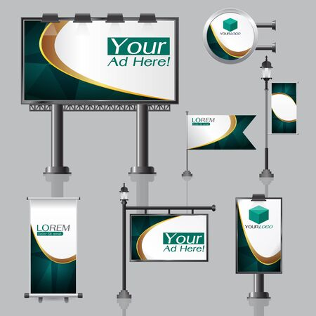 box design: vector Outdoor advertising design for company with color circles Elements of stationery printing media Light box banner Roll Up flag White identity template background