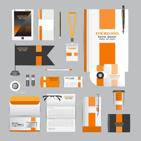 guideline: White corporate identity template with Orange origami elements. Vector company style for brandbook guideline and Pens mugs CDs books business cards letterhead flag Card Portfolio employees Tablet flash drive Illustration