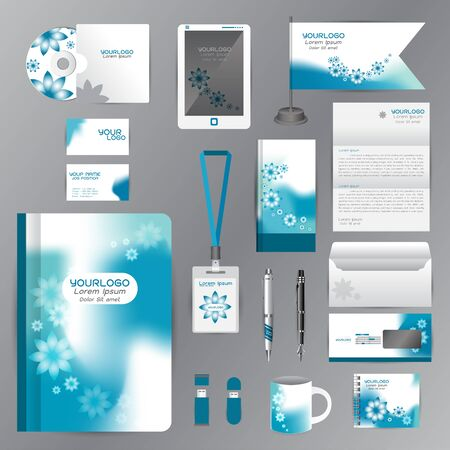 flash drive: White corporate identity template with Orange origami elements. Vector company style for brandbook guideline and Pens mugs CDs books business cards letterhead flag Card Portfolio employees Tablet flash drive Illustration