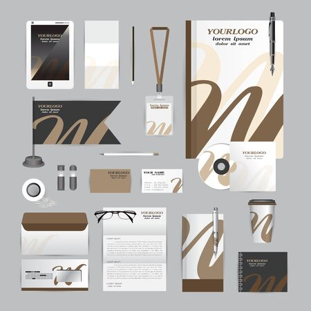 cds: White corporate identity template with Orange origami elements. Vector company style for brandbook guideline and Pens mugs CDs books business cards letterhead flag Card Portfolio employees Tablet flash drive Illustration