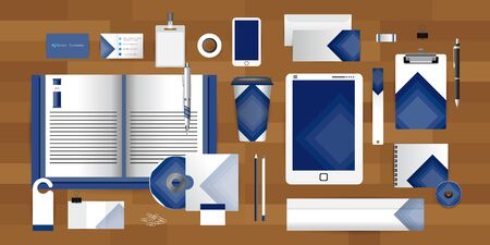guideline: White identity template with glue tape triangle origami elements Vector company style for brandbook guideline and Pens mugs CDs books business cards letterhead coffee Card