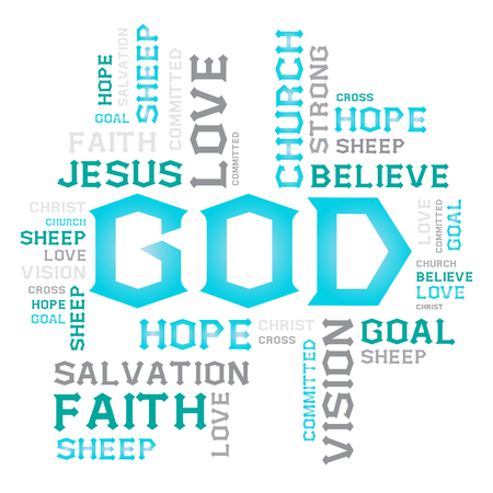 word of god: vector font DESIGN word cloud creative business concept god jesus hope love goal sheep church on white background