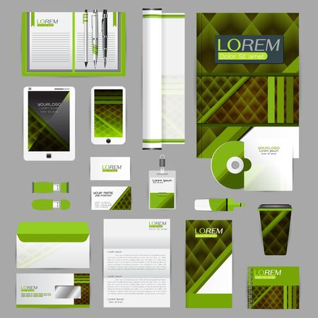 guideline: White identity template with blue origami elements. Vector company style for brandbook guideline and Pens mugs CDs books business cards letterhead flag Card Portfolio employees Tablet