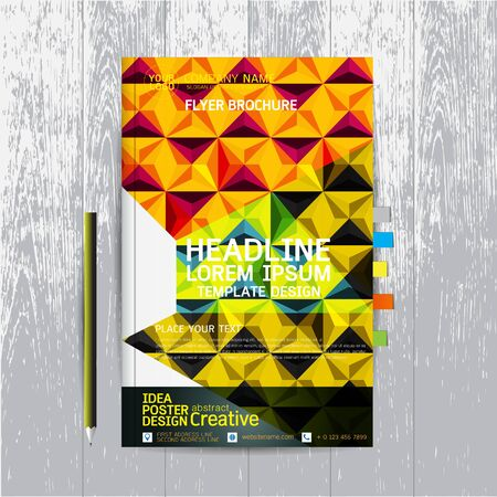 depliant: brochure, flyers, poster, design layout template in A4 size with business, abstract, background wood vector, text, Leaflet cover presentation, annual report, Pencil, Bookmarks bright, modern, Colorful Illustration