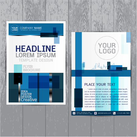 brochure flyer layout in A4 size, Blue annual report design template vector, Leaflet cover presentation abstract flat background, modern, Colorful, Leaflet cover presentation Illustration