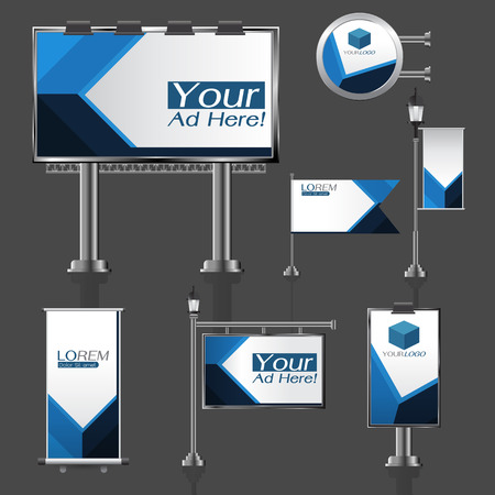 outdoor advertising: vector Outdoor advertising design for company with color circles Elements of stationery printing media Light box banner Roll Up flag White identity template background