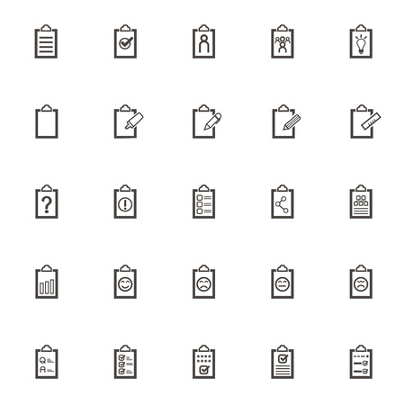 record office: vector Record book set icons. Office equipment for planning and notations, to-do list, clipboards, documents and files. Isolated Write down memories on white background