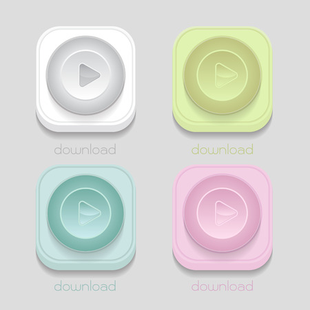 vector download: vector download icon, White, blue, green, pink on gray background