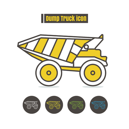 Dumper truck icon color on white background