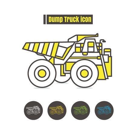 dumper: vector Dumper truck icon color on white background