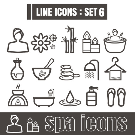 swimming candles: Line icons black set