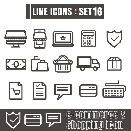 e auction: icon e-commerce & shopping line black Modern Style vector on white background Illustration