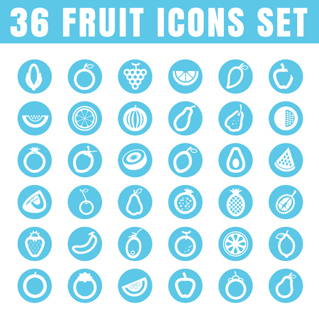banana bread: icons fruit color thin white in the circle blue on white background