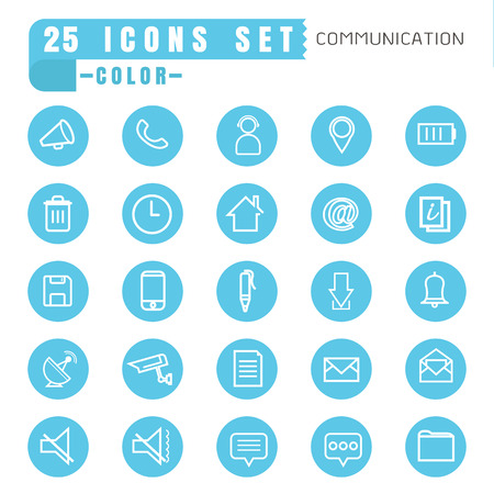 communication icons: icons communication color thin white in the circle blue on white background