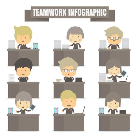 teamwork: Infographic teamwork success Business on white background Illustration