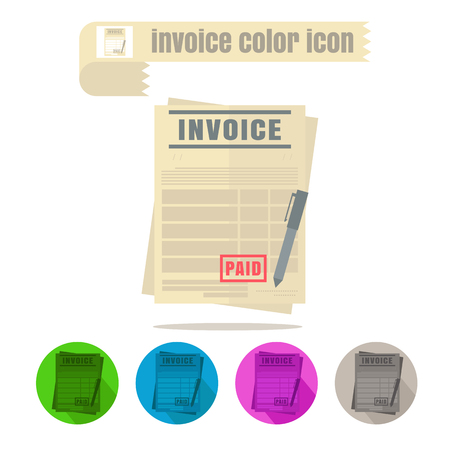 receivable: icon invoice colorful design vector on white background