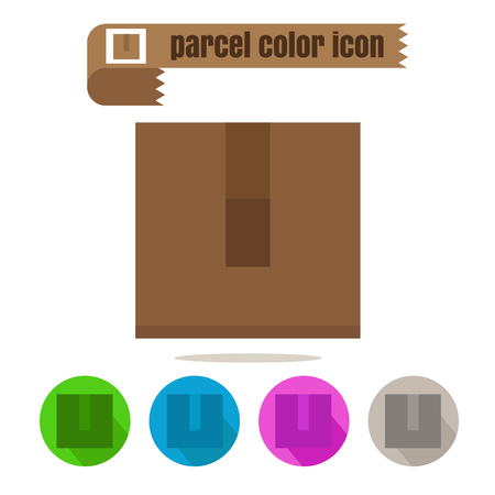 cardbox: icon parcel colorful design vector on white background