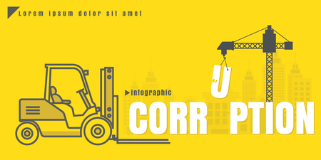 infographic Vector creative illustration of corruption text forklift city building crane on yellow background. concept. Thin line art style design of startup service