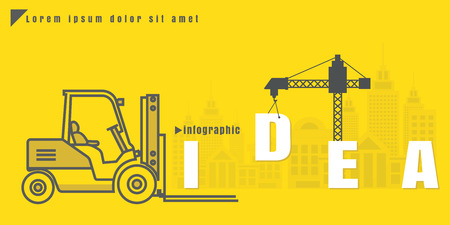 infographic Vector creative illustration of idea text forklift city building crane on yellow background. concept. Thin line art style design of startup service Illustration