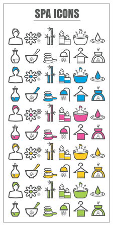 swimming candles: icons spa color black blue pink Yellow green vector on white background Illustration