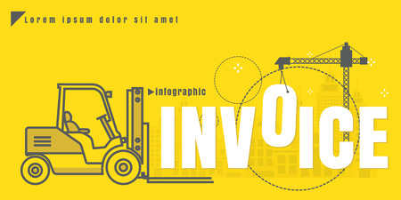 infographic Vector creative illustration of invoice text forklift city building crane on yellow background. concept. Thin line art style design of startup service