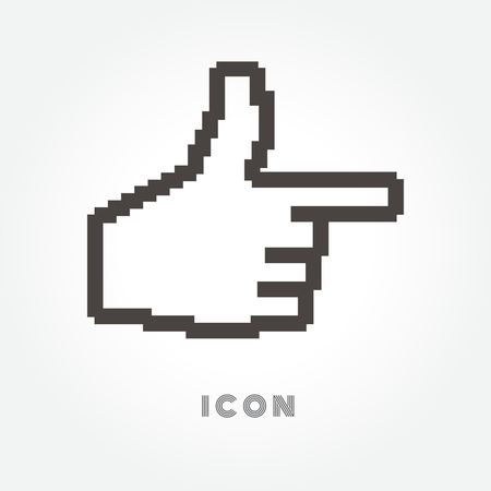 Hand cursor vector icon on white background.