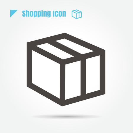sellotape: Icon shopping Close, packing box. illustration. thin line for web , modern minimalistic flat design vector on white background Illustration
