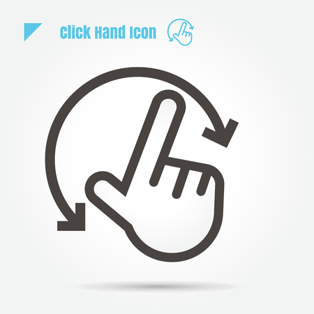 icon click hand vector illustration isolated sign symbol logo objects thin line for web, modern minimalistic flat design vector on white background