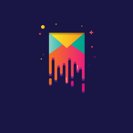 envelope: Colorful light illustration of envelope symbol for web, modern design vector on blue background.