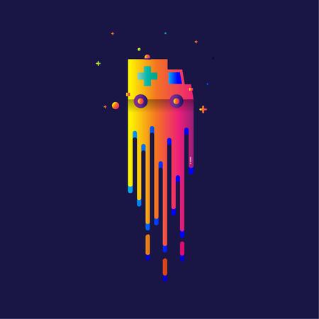 icon ambulance rainbow Beautiful colorful Light illustration sign symbol for web, modern design vector on blue background. logo.