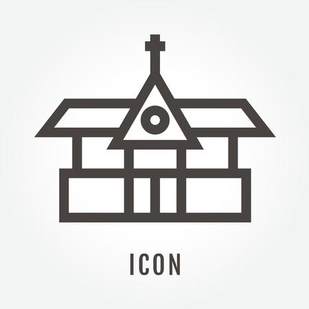 art museum: Church illustration isolated sign symbol thin line for modern minimalistic flat design.