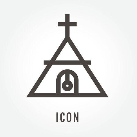 barn wood: Church illustration isolated sign symbol thin line for modern minimalistic flat design.