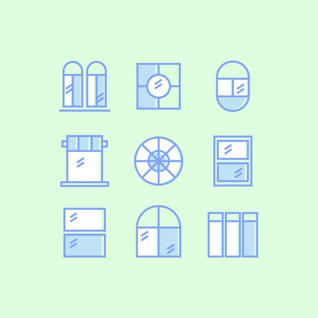 Set of window outline icons on green background Illustration