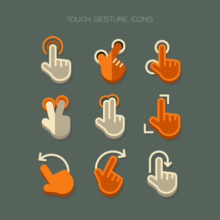 duo: Touch Gesture hand finger Icons modern. Orange white vector on green background