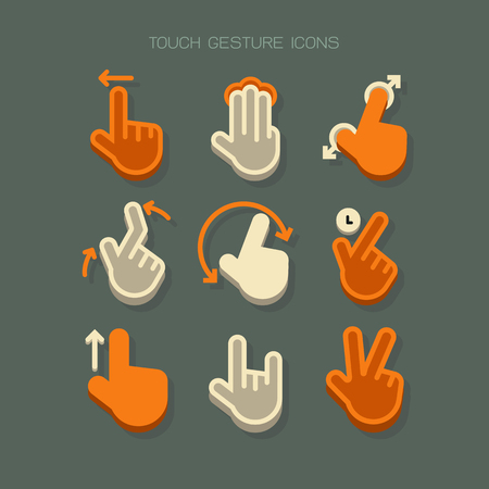 Touch Gesture hand finger Icons modern. Orange white vector on green background