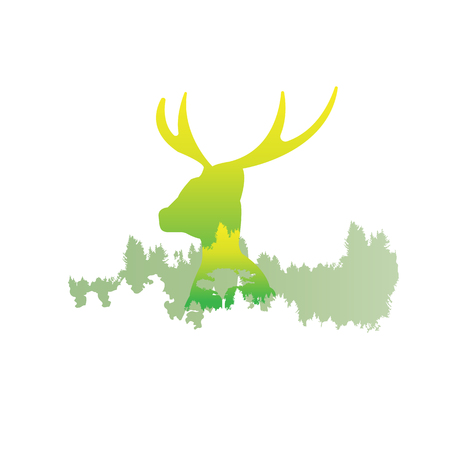 silhouette of a deer Inside the pine forest, bright colors animal  park  vector illustration on white background. logo, symbol Illustration