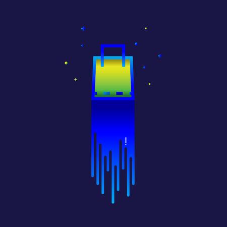 charming: Shopping Bag Color gradation. sign symbol for web, modern design vector on blue background. logo. icon.
