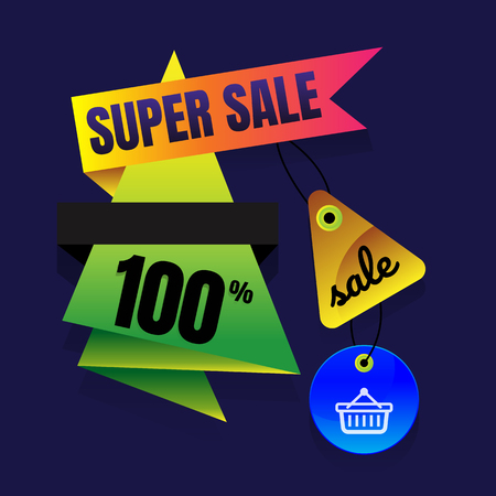 paper hanger: sale button super Sale Sign Banner Poster ready for Web and Print. Vector.. Abstract veiolet background. Design concept.