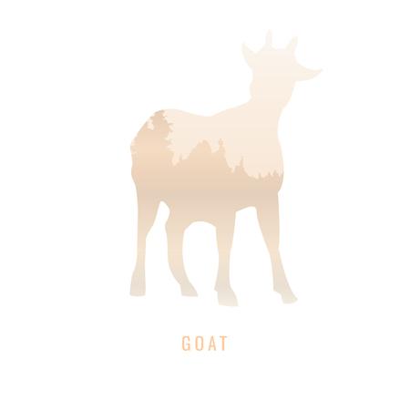Silhouette of a Goat Inside the pine forest, bright colors animal  park   illustration on white background, symbol Ilustração