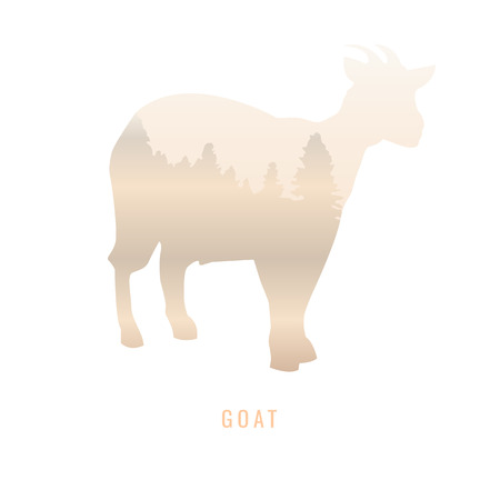 ruminant: Silhouette of a Goat Inside the pine forest, bright colors animal  park  illustration on white background, symbol Illustration