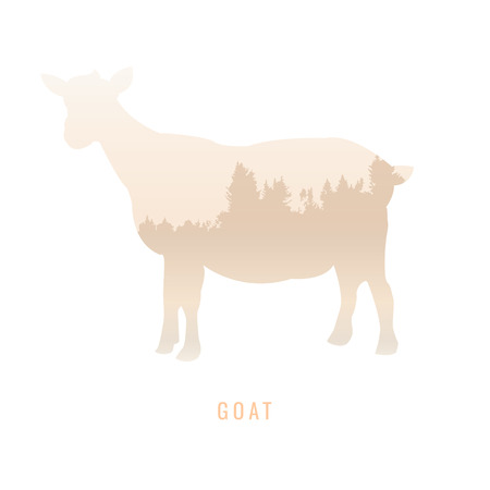 ruminant: silhouette of a Goat Inside the pine forest, bright colors animal  park  vector illustration on white background. logo, symbol