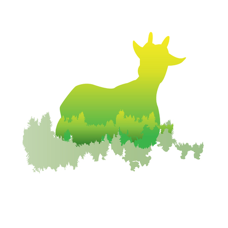 A silhouette of a Goat Inside the pine forest, bright colors animal  park  vector illustration on white background. logo, symbol