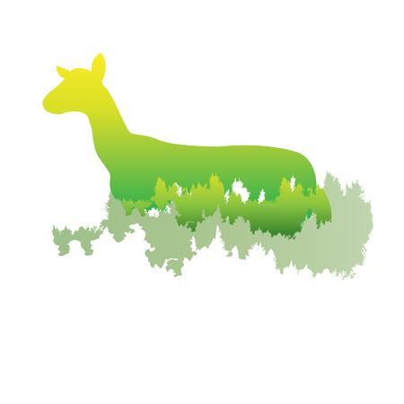 A silhouette of a Goat Inside the pine forest, bright colors animal  park  vector illustration on white background. logo, symbol. Ilustração